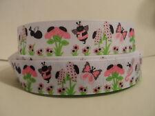"Grosgrain Ribbon, Polka Dot Daisy Pink Butterfly Pink Bees, Dragon Fly, 7/8"""