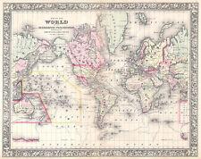 Mappa del mondo in proiezione di Mercatore mutchell 1864 STAMPA D'EPOCA