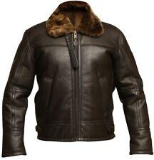 Men's RAF B3 Aviator Brown Bomber Real Shearling Sheepskin Leather Jacket