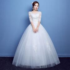 Stock Ivory Wedding Dress Bridal Gown Princess Full Length Half Sleeve Plus Size