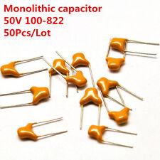 50Pcs/Lot 50V 100-823 0.01uf-8200PF Monolithic Ceramic Chip Capacitor 5.08mm