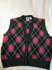 Izod Argyle Sweater Vest Dark Pink Rose & Green Size M GUC