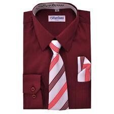 Berlioni Kids Boys Italian Long Sleeve Dress Shirt With Tie & Hanky Burgundy