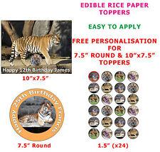 Personalizzata TIGRE SIBERIANA BIG CAT compleanno torta / cupcake topper su carta di riso