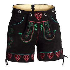 De mujer Pantalones de cuero corto negro con bordado verde y rojo la flor+coreas