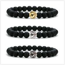 Chakra Healing Balance Beaded Bracelet Lava Agate Stone Brass Bead Chain Bangle