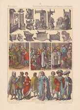 Holandeses flamencos holandés la edad media Trachten litografía de 1883