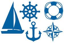 MARITIM AUFKLEBER Segelboot Steuerrad Rettungsring Anker Kompass Meer Fliese Bad