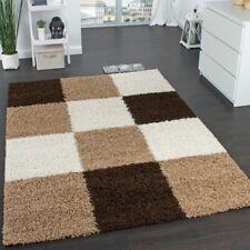 Designer Shaggy Carpet Modern Cut High Long Pile Chequered Rug Beige Brown Cream