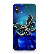 Dorado Gema Diamante Enchanted Mariposa Azul Floral Rosas Funda de teléfono