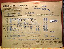 1907 KINGMAN ST LOUIS IMPLEMENT CO Farming Billhead Bill Head MAKE OFFER
