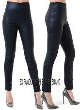 Donna Ex High Street Nero in Finta Pelle Leggings Bagnato Brillante Pantaloni elastici.