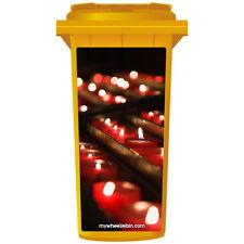 PRETTY RED TEA LIGHT CANDLES WHEELIE BIN STICKER PANEL