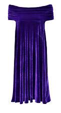 Baylis & Knight Purple Velvet Bardot Bandeau Off The Shoulder Cocktail Dress
