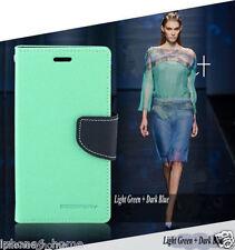 For Galaxy S6 Edge Genuine MERCURY Goospery Mint Green & Navy Flip Case Cover