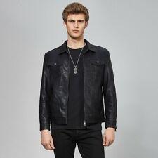 Korean Men's Leather Jacket Slim Fit Outdoor Motorcycle Zipper Biker Outwear New