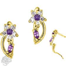 Birthstone Gemstone Flower Huggie Earrings In Yellow Gold Plated Silver 925