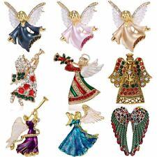 Crystal Christmas Angel Wing Penguin Ladybug Enamel Brooch Pin Women Party Gift