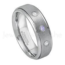 0.21ctw Tanzanite & Diamond 3-Stone Ring, December Birthstone,Tungsten Ring #008