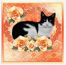 Gato Y Tela Durazno Rosas, panel de acolchar | Coser | Craft