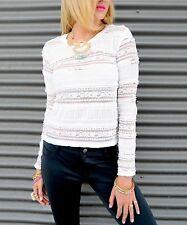 Women lace top blouse white long sleeve sexy bodycon  stripes