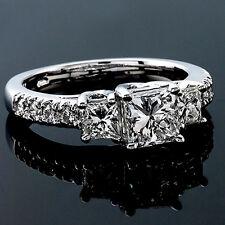 2.60 CT PRINCESS CUT DIAMOND ENGAGEMENT RING 14K WHITE GOLD ENHANCED