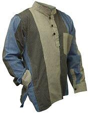 Mens Multicoloured Striped Hippie Grandad Shirt Collarless casual Boho Tops