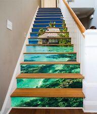 3D The sea grass 7 Stair Risers Decoration Photo Mural Vinyl Decal Wallpaper UK