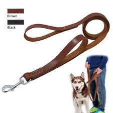 6ft Leather Dog Leash with Traffic Handle for Medium Large Dog Walking Training