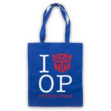 I LOVE OPTIMUS PRIME UNOFFICIAL TRANSFORMERS CARTOON TOTE BAG LIFE SHOPPER