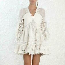Ladies White Ruffle Lace Cutout Dot Tassels Dresses Mini Skirts Casual Style 04