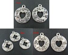 30 Tibetan Silver Love/Hope/Faith Coin Charms 18x15mm 1758 1762