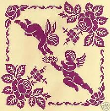 grille point de croix - ANGES aux ROSES ANCIENNES - Réf : 8004
