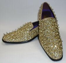 AM 6788 Mens Super Glitter Dress Loafers Shoes Monster Spike Metallic Gold