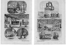 Stampa antica COSTRUZIONE LOCOMOTIVE treni Swindon 1854