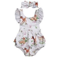 NEW Disney Bambi Baby Girls White Ruffle Romper Bodysuit & Headband Outfit Set