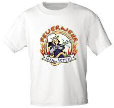 (06909 weiß) Kinder ♥ Baby T-Shirt Feuerwehr Anwärter Motiv Shirts Gr 86-164