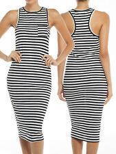 IUILE Stripe Sleeveless High Neck Bodycon RacerBack Knit Knee Dress Black Navy