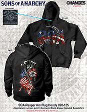SONS OF ANARCHY SOA REAPER FLAG HOODIE AMERICAN USA BIKER SKULL  HOODIE S-3XL