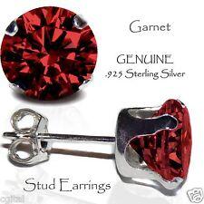 Men's or Lady's Garnet Red Stud Earrings, Sterling Silver - JANUARY Birthstone