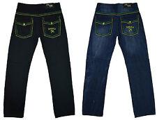 Mens New Jamaica Jeans Jamaican Coloued Stitches Design Pants