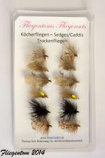 Fliegentom Assortiment de 12 trichoptères Sedge/Caddis (mouche séche)