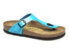 Birkenstock Birko-Flor Gizeh $129rrp Patent Aqua Blue BNWT & BNIB Kids Sizing
