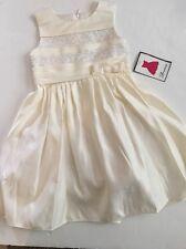 Flower Girl Stripe Lace Ivory Dress Size 2T 3T 4T 4 5 6 Holiday Wedding Fancy