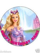"EDIBLE ROUND 7,5"" BARBIE BIRTHDAY CAKE TOPPER"