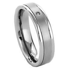 6mm Titanium Clear Round Band Cubic Zirconia Cz Women's Wedding Ring
