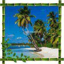 Adesivo Cornice Bambù Spiaggia e Mer7148
