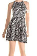 Bar Lii Black White Wavy Pattern Keyhole Back Stretch Flare Dress S