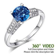 14K White Gold Wedding Engagement Ring 1.5 Ct London Topaz & Natural Diamonds