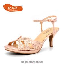 Women Open Toe Rhinestone Platform Med Heel Dress Sandal Party Rose Gold Nick